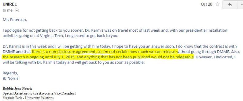email VT Norris re NDA